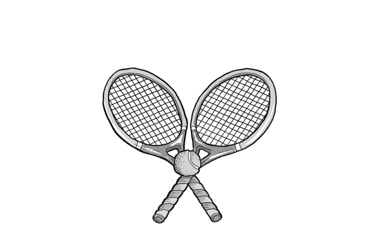 two tennis racquets and ball