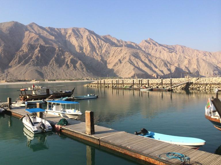 boats docked below mountain