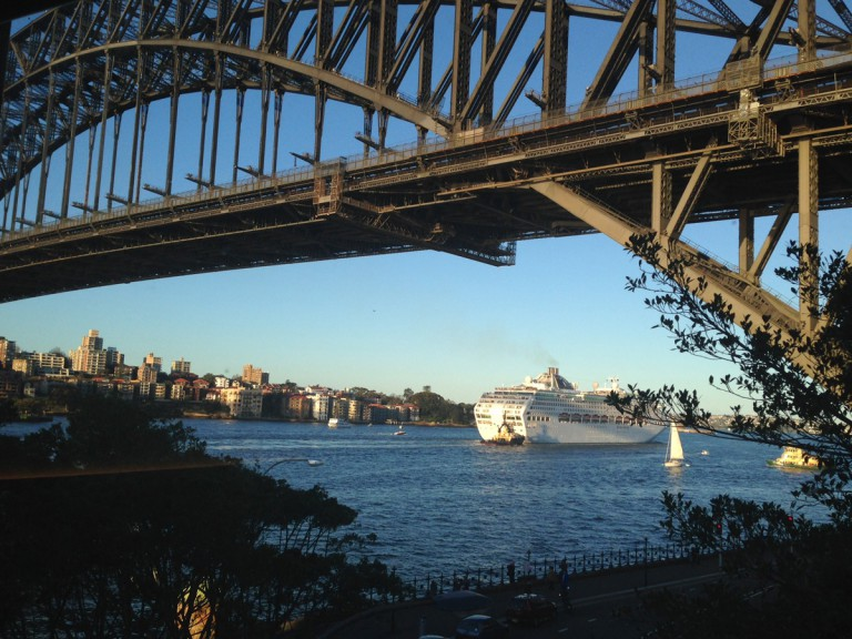cruise ship entering Sydney Harbour