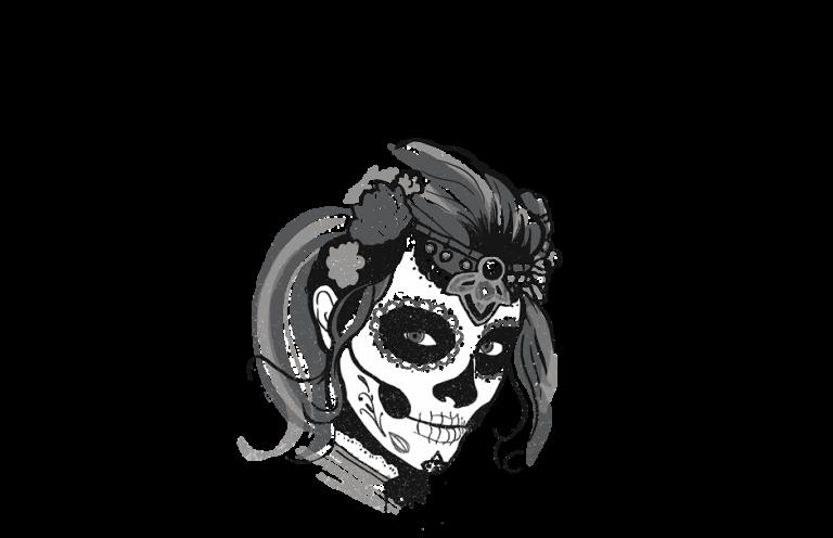 skull painted on woman