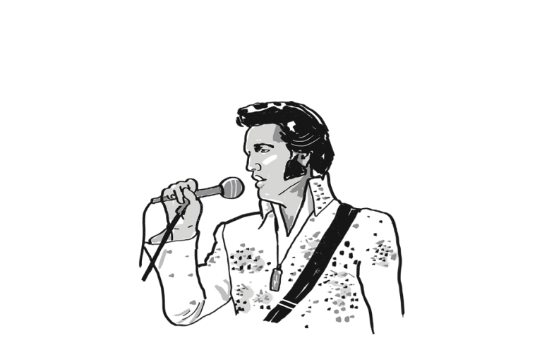 Elvis singing into microphone