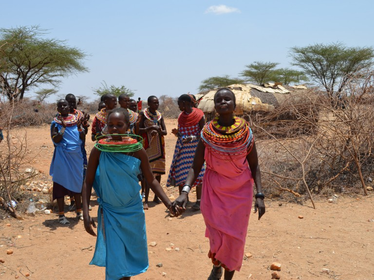 Kenyan women wearing colourful clothing