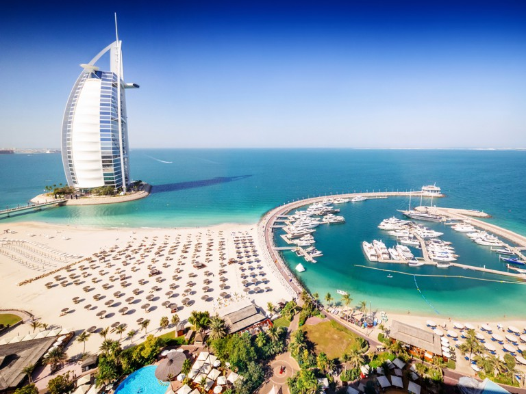 Dubai beach resort and ocean