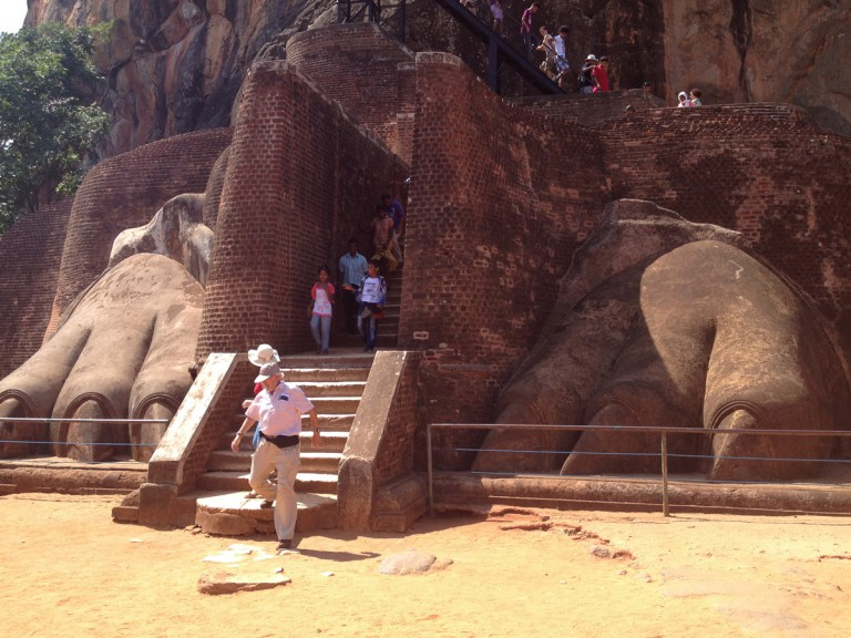 tourists leaving temple