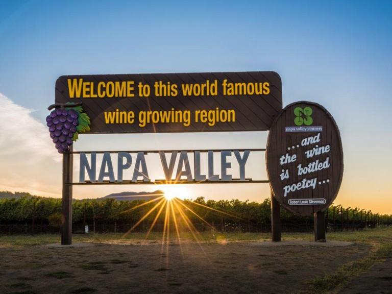 Napa Valley wine region sign
