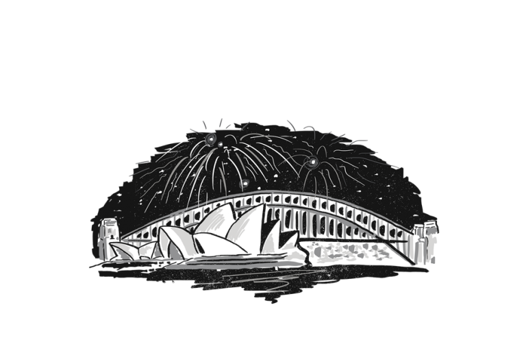 Sydney Opera House and Harbour Bridge with fireworks