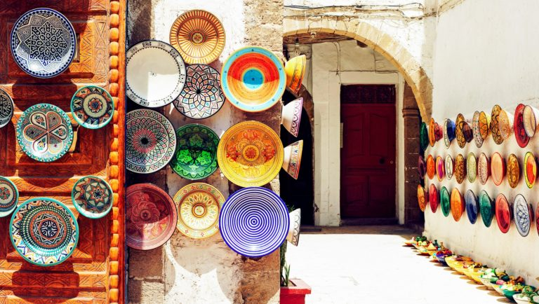 exotic colourful plates in morocco